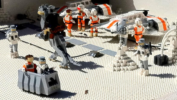 Rebel snowspeeders in Star Wars Miniland at Legoland California.