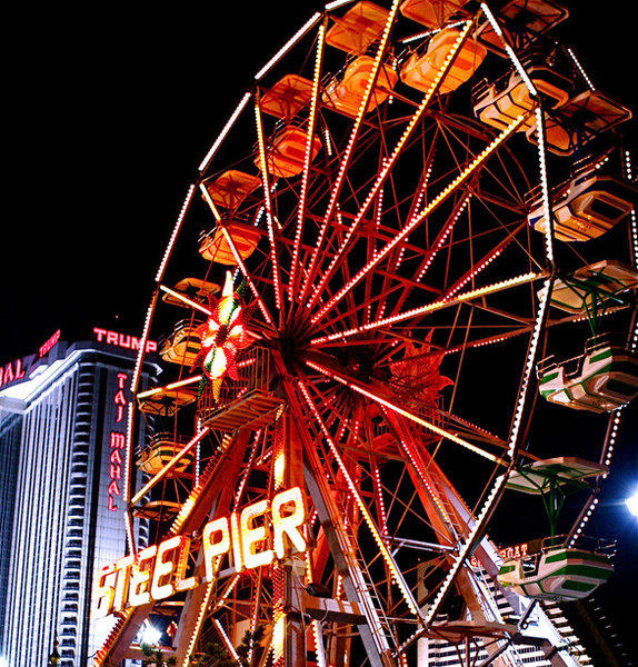 The 1,000-foot-long Steel Pier is across the Atlantic City Boardwalk from Donald Trump's Taj Mahal casino on the New Jersey shore.