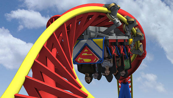 At the top of the Superman Ultimate Flight at Six Flags Great Adventure, trim brakes slow the train before heading into a heart-line roll 150 feet in the air.