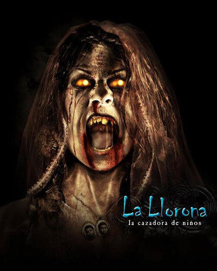 Based on the Mexican legend of a distraught mother who drowned her children and then herself, the La Llorona maze at Universal Studios Hollywood is haunted by the ghost of the drenched, weeping woman and the wandering children she snatches at night. Visitors walk through sticky pig carcasses hanging in the carniceria amid the smell of rotting meat, watch a child being eaten alive by La Llorona entering through a bedroom window and cross a horrifying moonlit lake full of drowned children floating face down in the water.