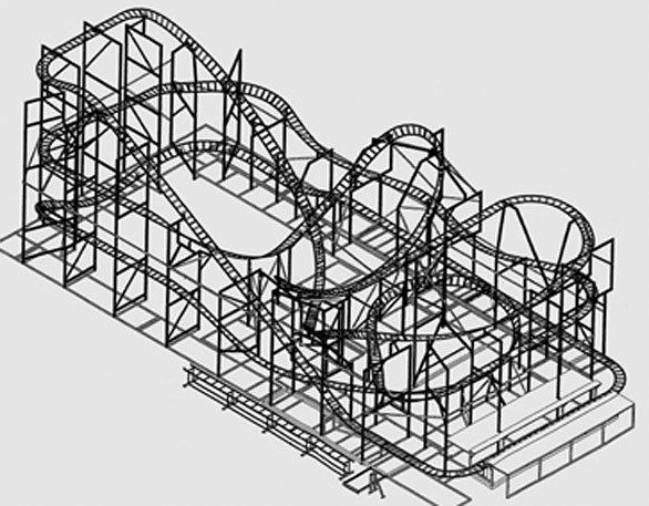 The Undertow track layout at Santa Cruz Beach Boardwalk will be similar to other Maurer Sohne spinning coasters.