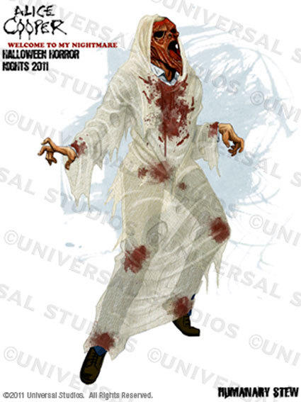 "Concept art of a Humanary Stew ""scareactor"" in the Alice Cooper maze at Halloween Horror Nights."