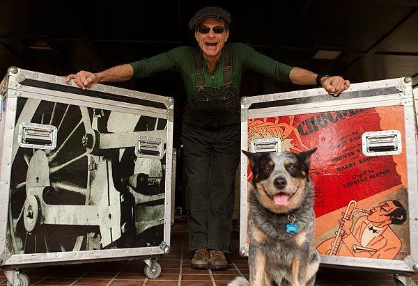 Van Halen frontman David Lee Roth and his dog Russell at their Pasadena home.