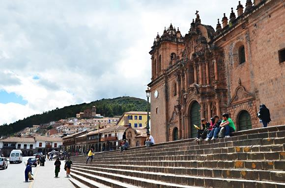 About 70 miles southeast of Machu Picchu by rail and road, Cuzco's Plaza de Armas is dominated by the city's cathedral. Photo taken in 2011.