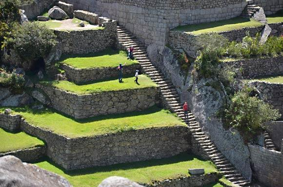 Atop Machu Picchu, tourists are able to tread on the stairs that the Incas used more than five centuries ago. Photo taken in 2011.