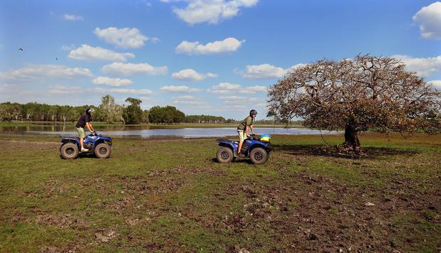 One of the pastimes at Wildman Wilderness Lodge is a quad bike ride through the surrounding grassland.