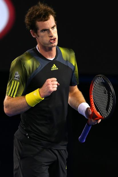 Andy Murray reacts after winning a point against Novak Djokovic in the Australian Open men's championship match Sunday.