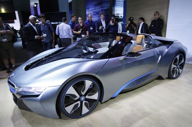 The BMW i8 convertible is introduced at the show.
