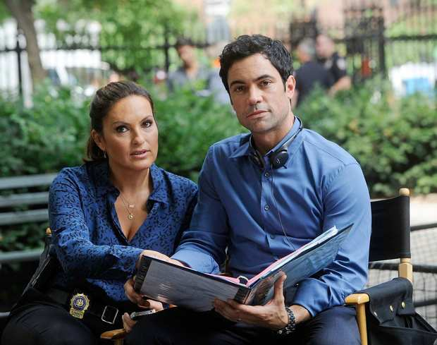 "Mariska Hargitay and Danny Pino on location in Manhattan for the filming of ""Law & Order: SVU."""
