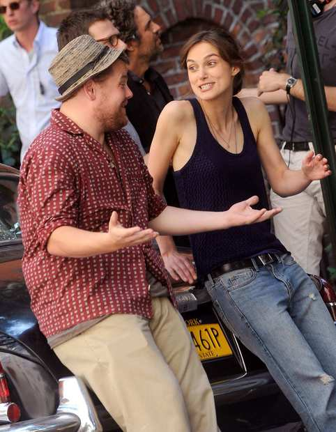 "James Corden and Keira Knightley on location in Manhattan for the filming of ""Can A Song Save Your Life?"""