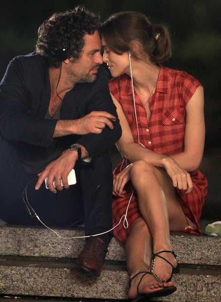 "Keira Knightley and Mark Ruffalo on location in Manhattan for the filming of ""Can A Song Change Your Life?""."