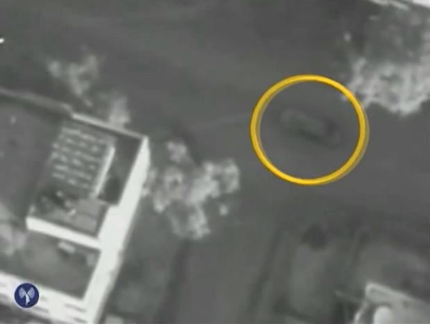 An image released by the Israeli military shows an aerial view of the car in which Hamas military chief Ahmad Jabari was riding moments before it was struck by an Israeli missile, killing Jabari.