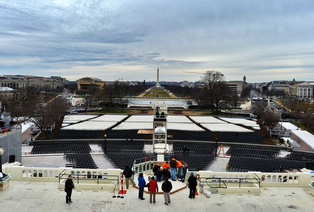 Preparations continue on the Capitol for Monday's inauguration ceremonies.