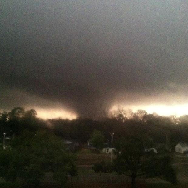A tornado churns through Hattiesburg, Miss., on Sunday. Officials report at least 10 people hurt but no deaths.