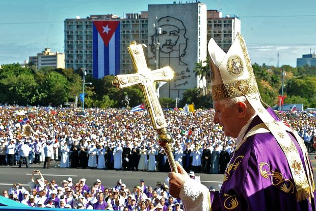 In 2012, Pope Benedict XVI arrives for Mass at Revolution Square in Havana.