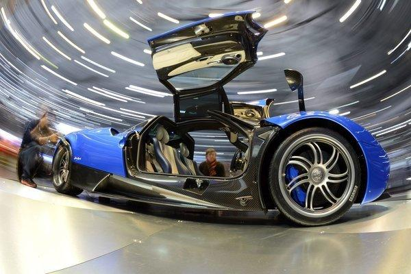 The new Pagani Huayra on a turntable during the second media day of the 83rd Geneva International Motor Show on Wednesday.