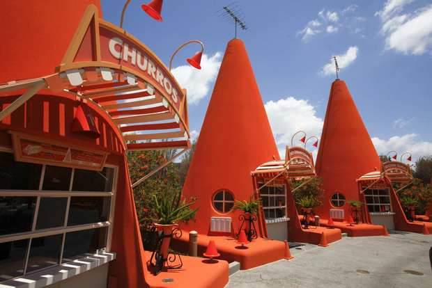 The Cozy Cone Motel is a stop for the hungry and thirsty visitors to Radiator Springs in Cars Land.