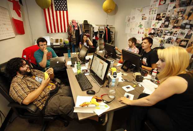 "Philip DeFranco, second from left, meets with the writers/hosts of ""SourceFed,"" a new YouTube channel show produced by DeFranco at his Woodland Hills offices."