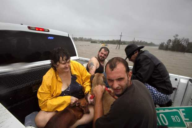 A group of people and their pets are taken out by truck after being rescued from their flooded homes in Braithwaite, La.