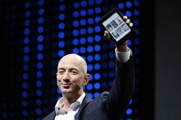 Amazon Chief Executive Jeff Bezos unveils the new Kindle Paperwhite on Thursday.