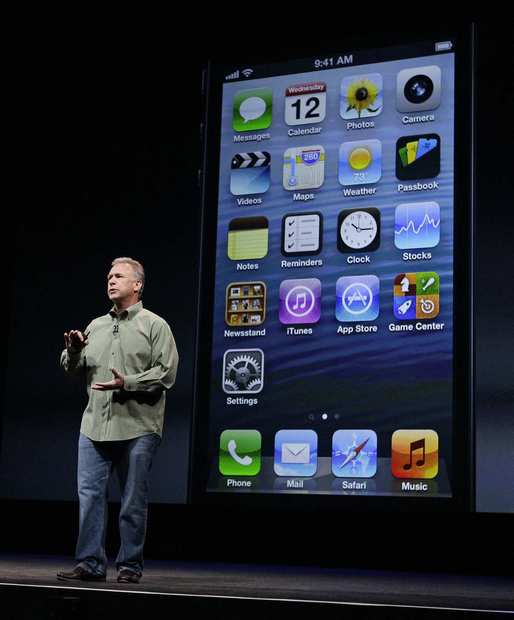 Phil Schiller, Apple's senior vice president of worldwide marketing, speaks on stage during an introduction of the new iPhone 5 in San Francisco on Wednesday.