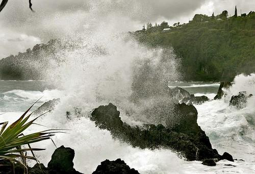 Surf pounds the lava rock at Laupahoehoe Park, north of Hilo.
