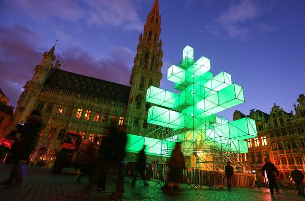 During the day, visitors can climb the installation for views of La Grand-Place square. Access costs four euros (about $5).