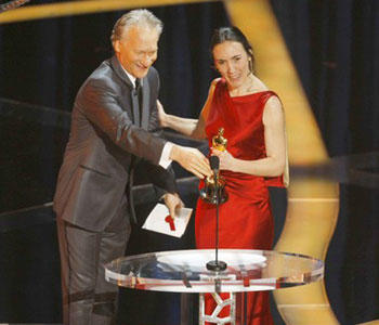 "Bill Maher presenting best documentary, a category in which his film, "" ""Religulous,"""" was eligible but not recognized: """"As a producer and star of a documentary of my own this year, the one about religion that didn't get nominated... …I know it's a touchy subject but some day we all do have to confront the notion that our silly gods cost the world too greatly. But there I go again ruining the ending."""""