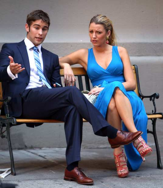 "Chase Crawford and Blake Lively film ""Gossip Girl"" on the streets of Manhattan on July 17 in New York City."