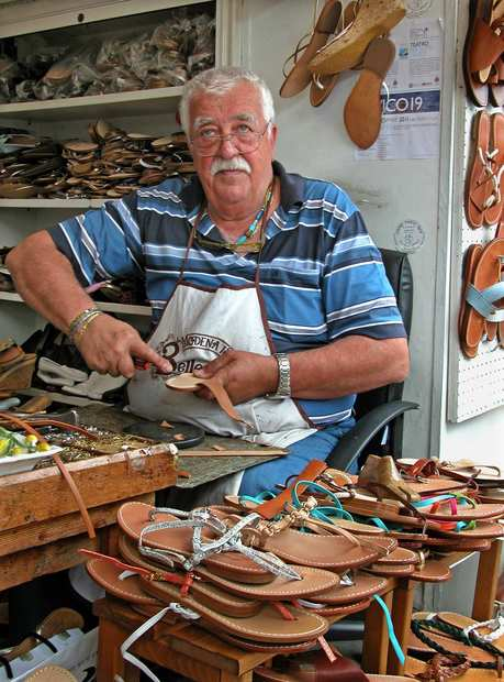 Shoemaker Antonio Viva in his Anacapri shop.
