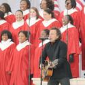 Bruce Springsteen performs at the We Are One concert at the Lincoln Memorial.
