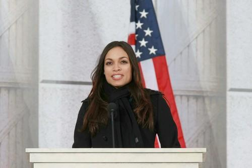Actress Rosario Dawson speaks at the We Are One concert at the Lincoln Memorial.