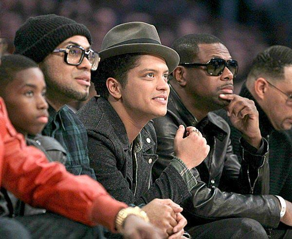 Bruno Mars has a courtside seat for the NBA All-Star game at Staples Center.