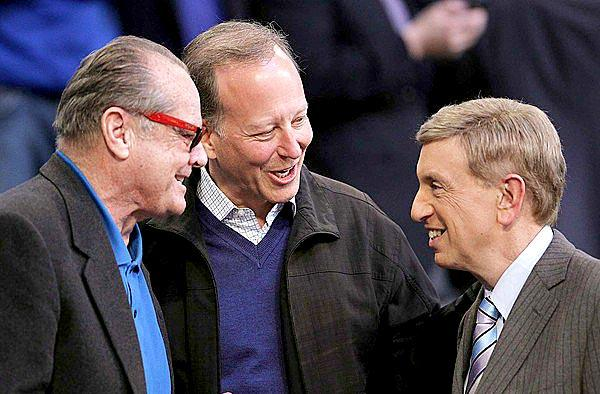 Jack Nicholson, Jim Gray and Marv Albert gather for a quick conversation minutes before the start of the NBA All-Star game at Staples Center.