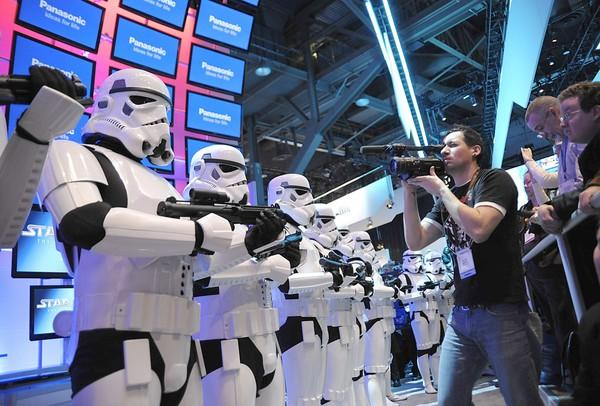 Star Wars Stormtroopers await the arrival of Darth Vader at the Panasonic booth.