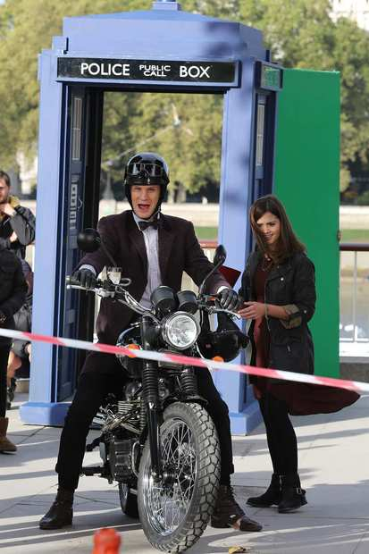 "Matt Smith and Jenna-Louise Coleman are seen filming ""Dr. Who"" on London's Southbank."