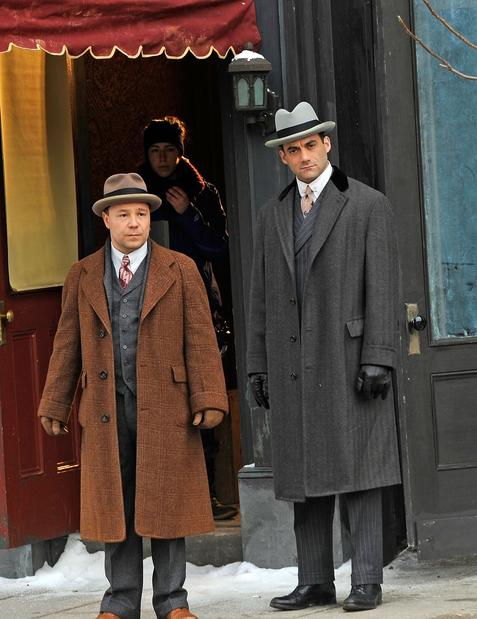"Stephen Graham, left, and Morgan Spector filming on location for ""Boardwalk Empire"" on Feb. 22, 2013, in the Staten Island borough of New York City."