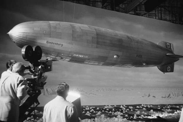 "Special effects artists shoot  the model of the dirigible the Hindenberg during the filming of Robert Wise's  ""The Hindenberg"" on Aug. 18, 1974, at Universal Studios in Los Angeles."