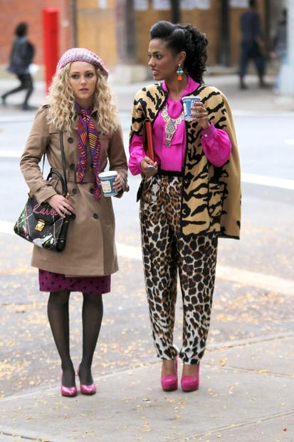 "AnnaSophia Robb and Freema Agyeman filming ""The Carrie Diaries"" on location in New York City."