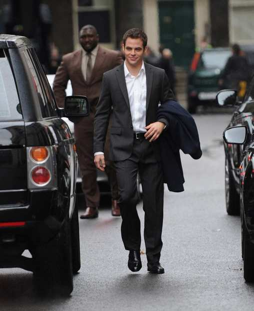 "Chris Pine on location in London for the filming of ""Jack Ryan."""