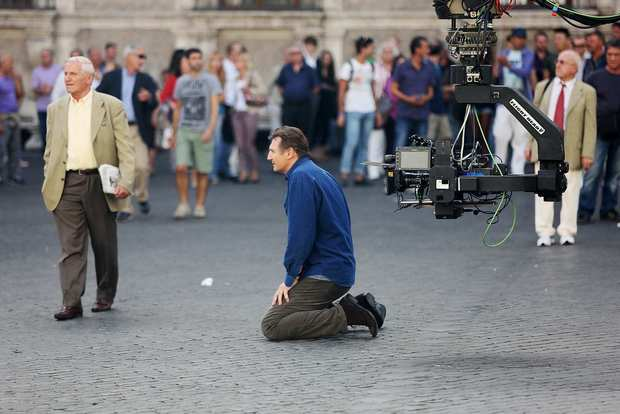 "Liam Neeson on location in Rome for the filming of ""Third Person."""