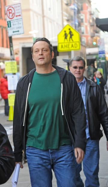 "Vince Vaughn on location in New York City for ""The Delivery Man."""