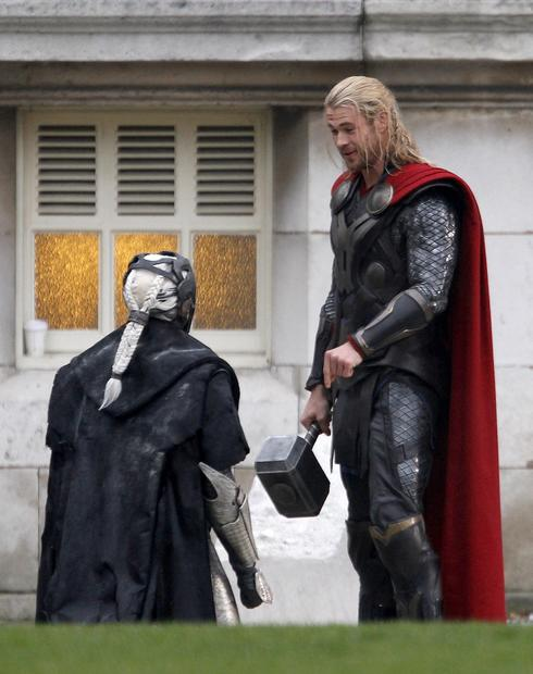 "Chris Hemsworth on location in London for ""Thor: The Dark World."""