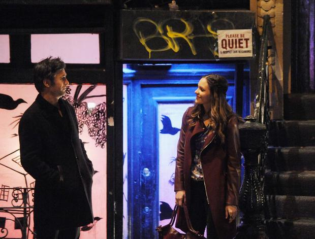 "Jack Davenport and Katharine McPhee filming ""Smash"" in New York City."
