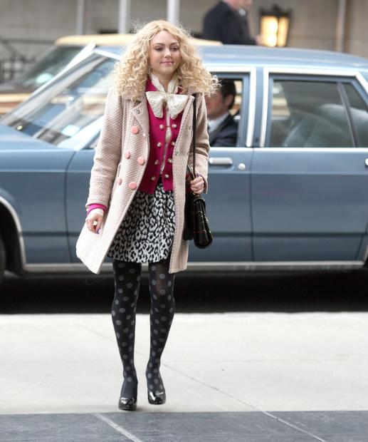 "AnnaSophia Robb filming ""The Carrie Diaries"" in New York City."