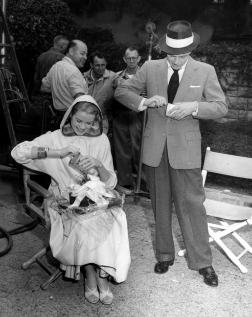 "Grace Kelly and Frank Sinatra on the set of ""High Society"" on Jan. 19, 1956, in Los Angeles."