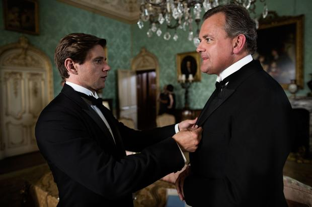 "Tom Branson (Allen Leech) chats with the Earl of Grantham (Hugh Bonneville) during filming of Season 3 of ""Downton Abbey."""