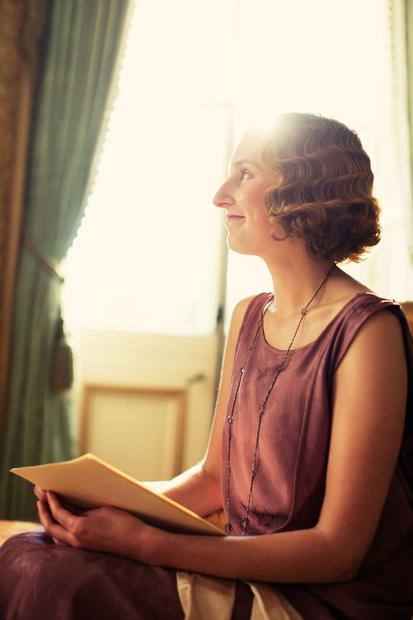 "Laura Carmichael plays middle sister Lady Edith Crawley on ""Downton Abbey."""