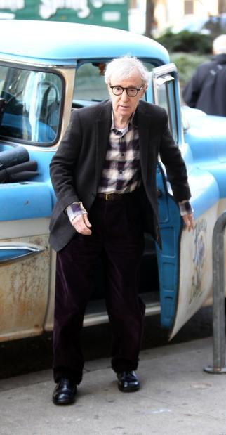 "Woody Allen at work on ""Fading Gigolo"" in Manhattan. He costars in the John Turturro film with Sofia Vergara."