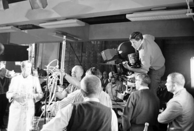 "Director Jerry Lewis, right, checks camera angle  on the set of ""The Nutty Professor"" on Dec. 3, 1962, in Los Angeles."